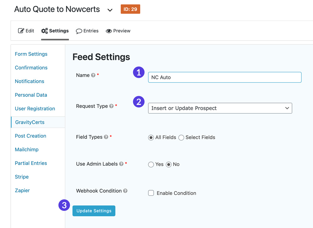 GravityCerts Plugin feed settings admin page