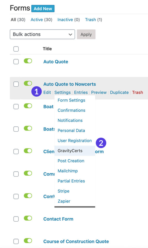 GravityCerts Plugin located in Form Settings submenu for each form