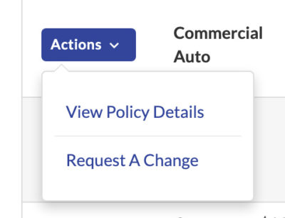 Client Center Dashboard Policy Actions: View Policy Details or Request A Change