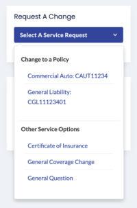 Client Center Dashboard Select A Service Request Dropdown Menu