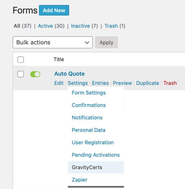 GravityCerts Plugin Forms Submenu Item